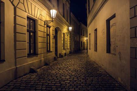 Retezova Street in Prague at Night, a Mysterious, Spooky, Creepy, Dark Cobblestone Alley Standard-Bild