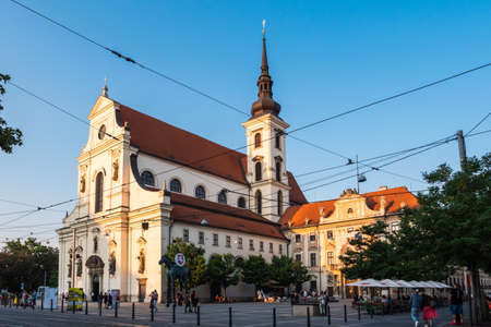 Brno, Czech Republic - September 12 2020: Saint Thomas Church or Kostel Svateho Tomase on Moravian Square in the Evening