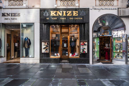 Vienna, Austria - October 25 2020: Knize and Comp Tailor and Clothing Store Front designed by Adolf Loos with Shop Windows on the Graben Street. Redakční