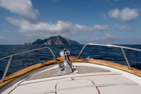 Bow of a Boat Headed for Capri Island, the Prow of a Yacht on the Sorrentine Coast in Italy Reklamní fotografie