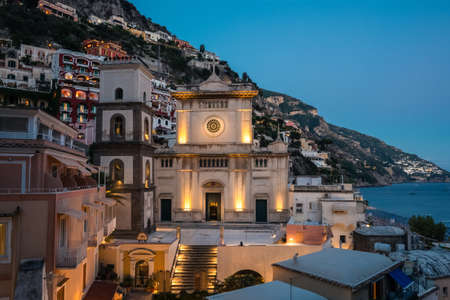 Positano Church Chiesa Santa Maria Assunta in the Evening at Dusk with the Cityscape of the Old Town