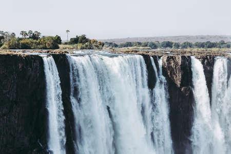 Victoria Falls Main Waterfall on the Zambezi River in Zimbabwe, Africa als called Mosi Oa Tunya