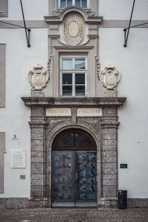 Innsbruck, Austria - February 8 2021: Faculty of Theology in the Old Grammar School or Altes Gymnasium in Innsbruck, Tyrol.