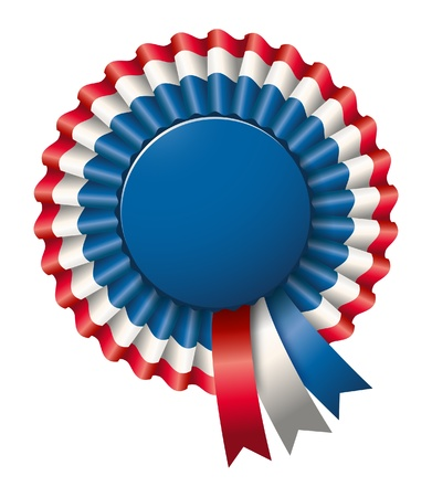 award ribbon rosette: tri-colored rosette Stock Photo