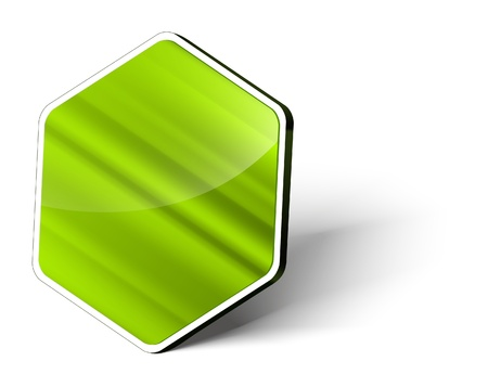 hexagon background: An image of a blank, green metallic button in hexagon form Stock Photo
