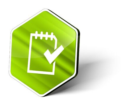 image of a metallic hexagonal button with the symbol of a checklist Stock Photo - 10644581