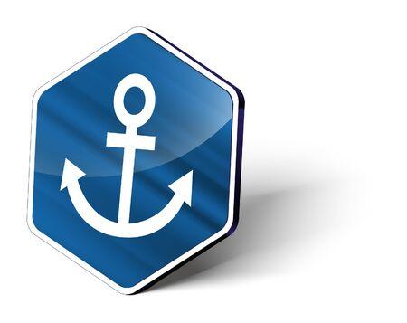 image of a metallic hexagonal button with the symbol of an anchor photo