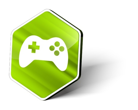 gamepad: image of a metallic hexagonal button with the symbol of a gamepad