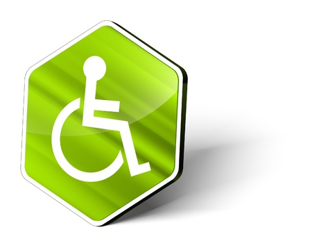 handicapped person: image of a metallic hexagonal button with the symbol of a wheel chair Stock Photo