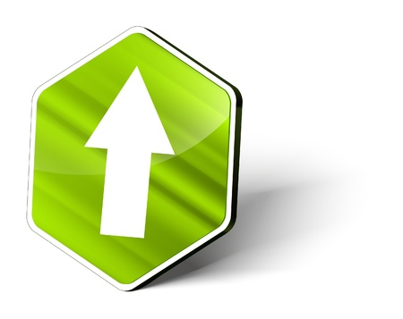 image of a metallic hexagonal button with the symbol of an upload arrow photo