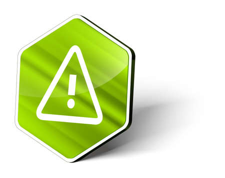 the precaution: image of a metallic hexagonal button with the symbol of a caution sign Stock Photo