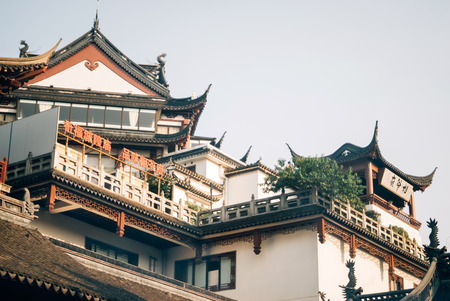 Shanghais famous traditional architecture. Buddhist Temple built in the traditional Chinese style