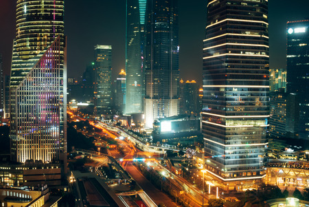 Night, Office Building, Skyscraper, Shanghai, Traffic lights