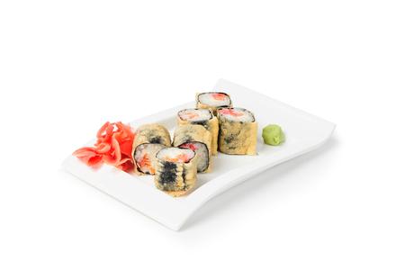 Sushi maki rolls on the plate isolated on white background 版權商用圖片