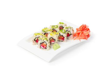 Japanese Food, Maki Sushi with ginger isolated on white background