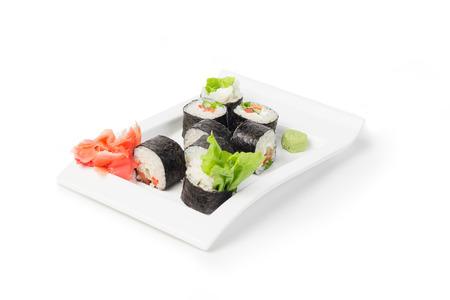 Japanese Food, Maki Sushi with ginger isolated on white 版權商用圖片