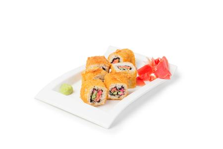 Japanese Food, Sushi Maki with ginger isolated on white background