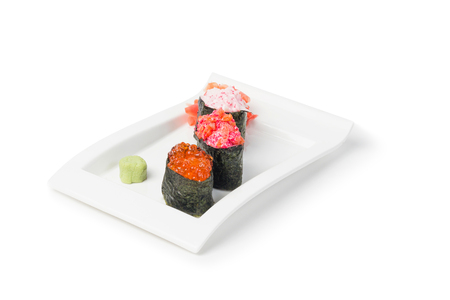 Japanese Food, Maki Sushi with ginger and caviar isolated on white