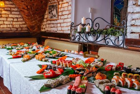A large great sushi and maki rolls assortment, Salmon, Eel and Tuna Sushi