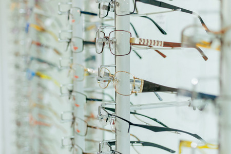 Stand rack with a large selection of glasses