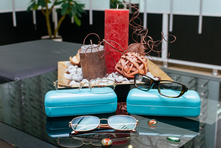 Modern fashion glasses with turquoise boxes