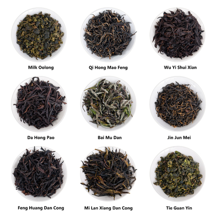 huang: Famous Chinese Tea Varieties isolated on white. Oolong, red tea, white tea