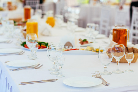 Standing buffet table setting on a celebratory event