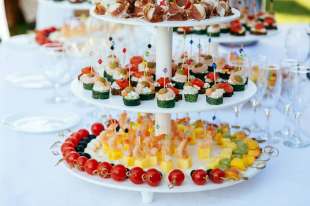 appetiser: Selection of delicious appetiser or canape. Tray full of gourmet canapes and appetizers