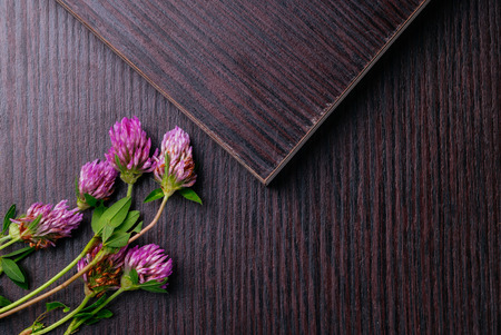 Laminated particleboard (chipboard) is used in the furniture industry. Chipboard, which applied decorative coating laminate. Flat lay 版權商用圖片