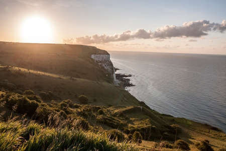 The White Cliffs of Dover in England at sunrise