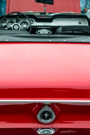 ZAMOSC, POLAND - August 13, 2017: Back rear view of Classic retro Ford Mustang GT.Car exterior details. Editorial