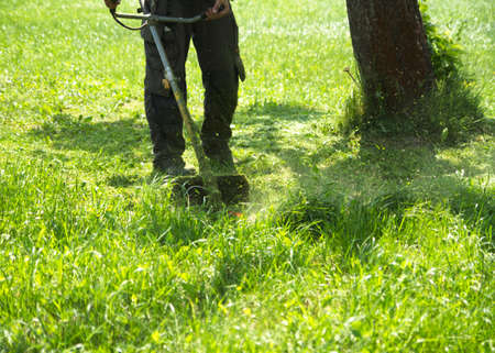Der Mann, der grünes wildes Grasfeld unter Verwendung des Bürstenschneider-Mähers oder des Rasentrimmers des Elektrowerkzeugstrings mäht. Mit dem Trimmer ein Gras mähen. Trimer mäht einen Rasen. Pflege eines Rasens.