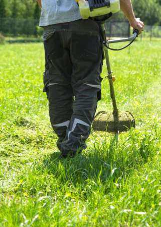 The man mowing green wild grass field using brush cutter mower or power tool string lawn trimmer. To mow a grass with the trimmer. Trimer mows a lawn. Care of a lawn. Banque d'images