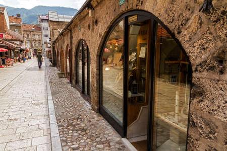 SARAJEVO / BOSNIA AND HERZEGOVINA - September 2, 2018: Jewellery stores at Gazi Husrev-beg Bezistan covered market at old bazaar and the historical and cultural center of the Sarajevo called Bascarsija
