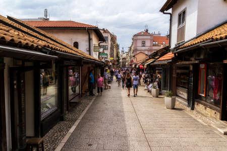 SARAJEVO / BOSNIA AND HERZEGOVINA - September 2, 2018: Pedestrian market area of Bascarsija in Sarajevo, Bosnia. Bascarsija, the old town, is a popular place for tourists to buy local craftwork.