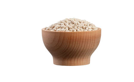 small white bean in wooden bowl isolated on white background. nutrition. food ingredient.
