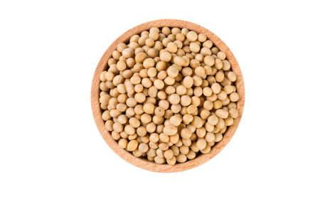soy bean in wooden bowl isolated on white background. nutrition. food ingredient.