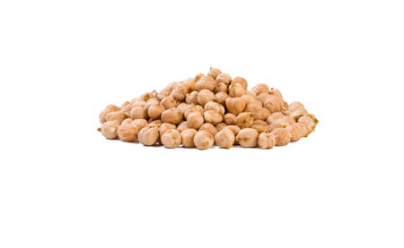 chickpea heap isolated on white background. nutrition. bio. natural food ingredient.