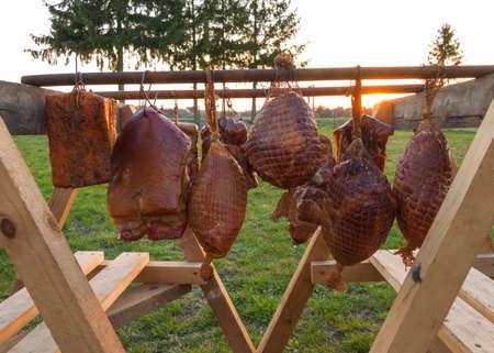 homemade smoked various meat drying after smoking process