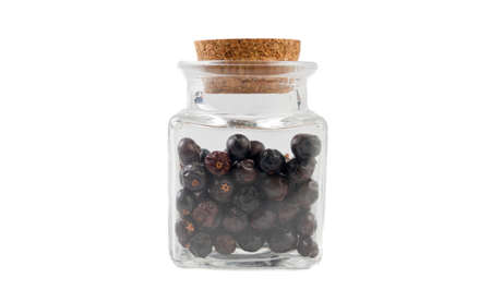 juniper berries in glass  jar on isolated on white background. front view. spices and food ingredients.