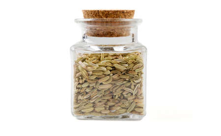 fennel seeds in glass  jar on isolated on white background. front view. spices and food ingredients.