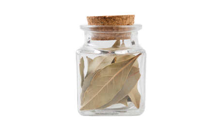 bay leaves in glass  jar on isolated on white background. front view. spices and food ingredients. Stock Photo