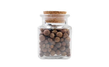 allspice jamaican pepper in glass  jar on isolated on white background. front view. spices and food ingredients.