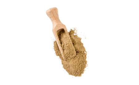 cardamon powder in wooden scoop isolated on white background. top view. spices and food ingredients. Stock fotó
