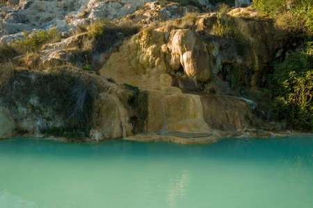 Bagno Vignoni hot spring of thermal water baths in Tuscany, Italy.