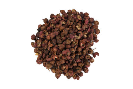 heap of sichuan pepper isolated on white background. top view. spices and food ingredients