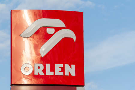 Zamosc / Poland - September 5 2018: Logo symbol of ORLEN fuel and gas station. PKN Orlen is a major Polish oil refiner and petrol retailer.