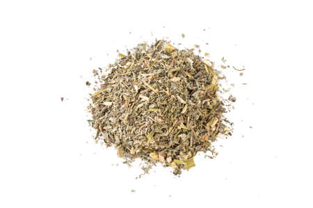 wormwood herb or in latin Absinthii herba herb heap of isolated on white background. medicinal healing herbs. herbal medicine. alternative medicine