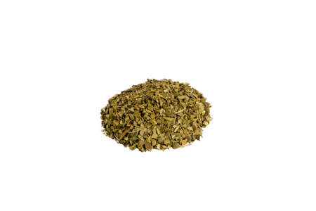Dried leaves of yerba mate tea heap isolated on white background. nutrition. Traditional tea in South-America.