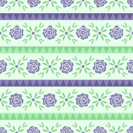 Purple Rose Flower Seamless Pattern Background Wallpaper. Combination sweet calm colors of purple, and green. Floral Pattern for Textile Fabric and more. Ilustrace